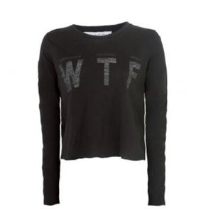 NWT WildFox WTF Long Sleeve Crop Top Size S